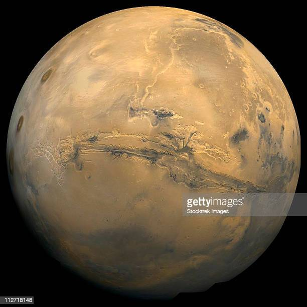Global mosaic of Mars. Visible in the center of this mosaic is the largest known chasm in the solar system, Valles Marineris.