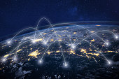 global network around Earth, information technology concept
