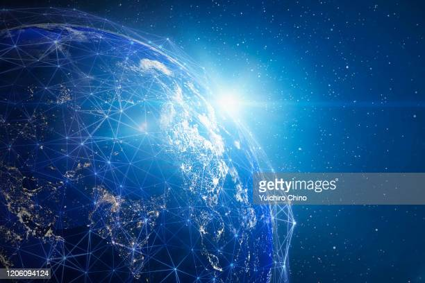 global network (world map credit to nasa) - global stock-fotos und bilder