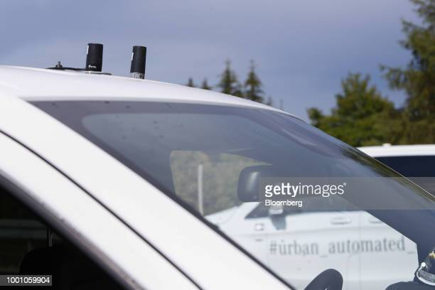Global positioning system devices manufactured by Pctel Antenna Products Group Inc sit on the roof of a MercedesBenz VClass van during the Daimler AG...