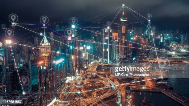 global positioning system with connection line to dot over hong kong city,connection and  wireless network technology.smart city,internet of things,big data,fin tech concept - financial technology stock pictures, royalty-free photos & images