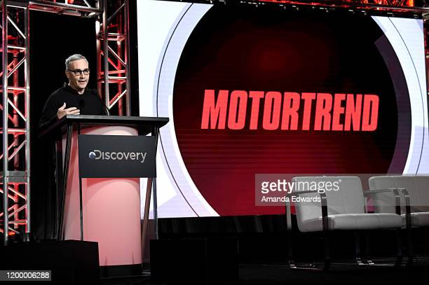 Global President and General Manager MotorTrend Group Alex Wellen of 'Top Gear America' speaks onstage during the MotorTrend portion of the Discovery...