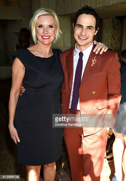 C Global President Karen Buglisi Weiler and fashion designer Zac Posen attend the MAC Cosmetics Zac Posen luncheon at the Ennis House hosted by Karen...