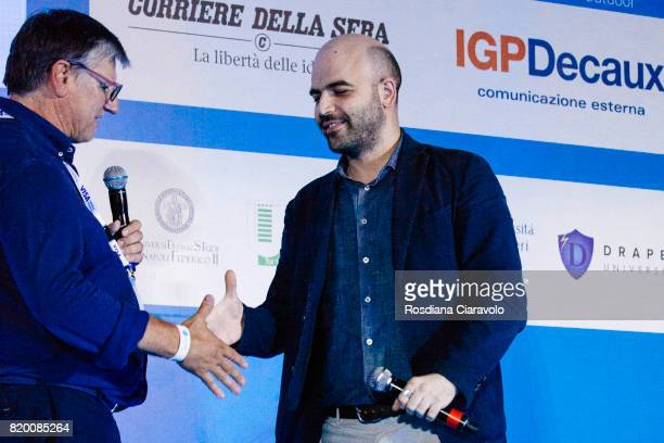 Global President of Campus Party Carlo Cozza and Writer Roberto Saviano attend Campus Party on July 20, 2017 in Milan, Italy.