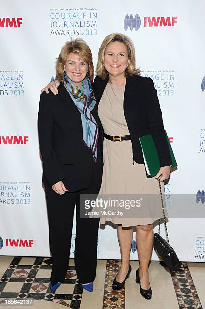 Global strategy and marketing officer Bank of America Anne Finucane and CoVice Chair of IWMF Cynthia McFadden attend the International Women's Media...