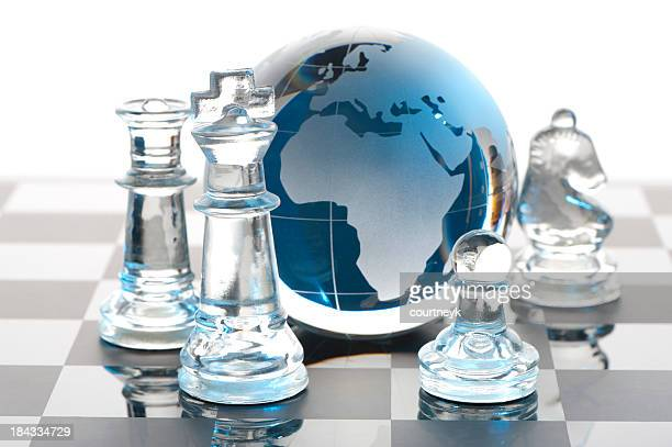 Global Strategy concept with Chess pieces
