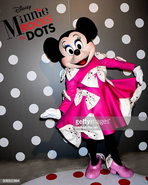 Global style icon Minnie Mouse poses in the custom dress Christian Siriano designed for her in celebration of National Polka Dot Day The dress will...