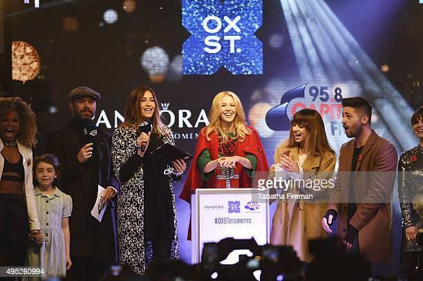 Global Superstar Kylie Minogue Lights up Oxford Street at Pandora Switch On with Fleur East Evie Hone Dave Berry Lisa Snowdon Kylie Minogue Foxes Ben...