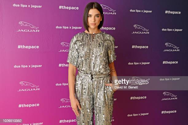 Global superstar/singersongwriter Dua Lipa wearing Balmain and Jaguar launch a pioneering tech and music collaboration with a live performance of the...