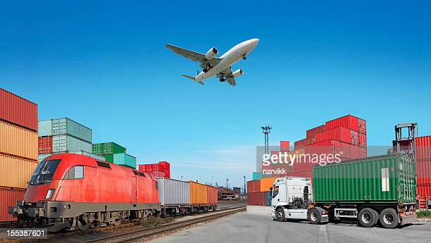 Global travel via cargo train, container ship, air