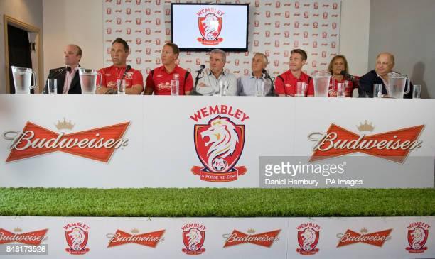 Global VP Budweiser Jason Warner Wembley FC new signings David Seaman and Ray Parlour Technical Advisor Terry Venables Chairman Brian Gumm Graeme Le...