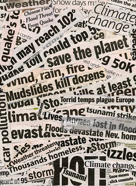 global warming related collage of newspaper headlines - front page stock photos and pictures