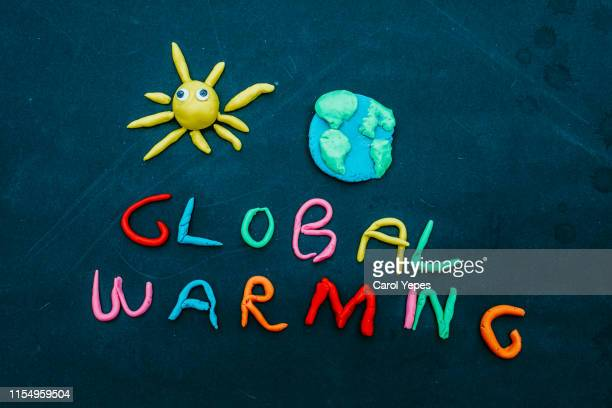 global warming text in clay - 粘土 ストックフォトと画像
