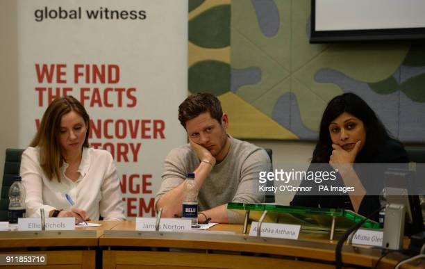 Global Witness campaigns leader Ellie Nichol BBC McMafia star James Norton and journalist Anushka Asthana at an event held by the anticorruption NGO...