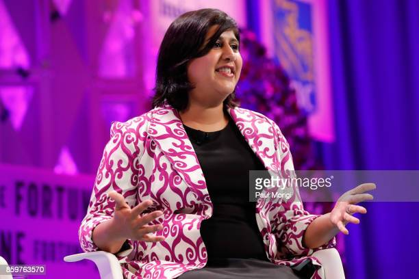 Global Women Leaders Honorees WomEng and WomHub cofounder Hema Vallabh speaks onstage at the Fortune Most Powerful Women Summit Day 2 on October 10...