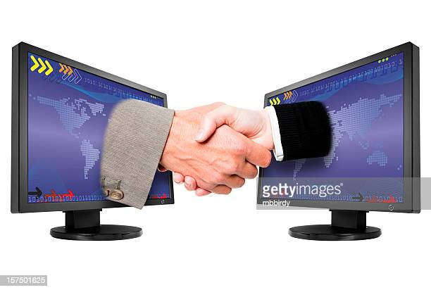 Global WWW Kommunikation Hände schütteln