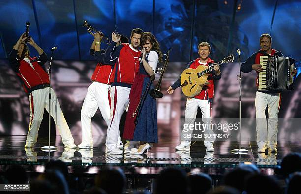 GlobalKryner band of Austria performs in the dress rehearsal for the semifinal of 50th Eurovision Song Contest 19 May 2005 AFP PHOTO/ SERGEI SUPINSKY