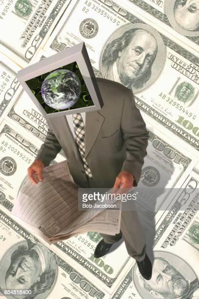 Globally-Minded Businessman Checking Stocks