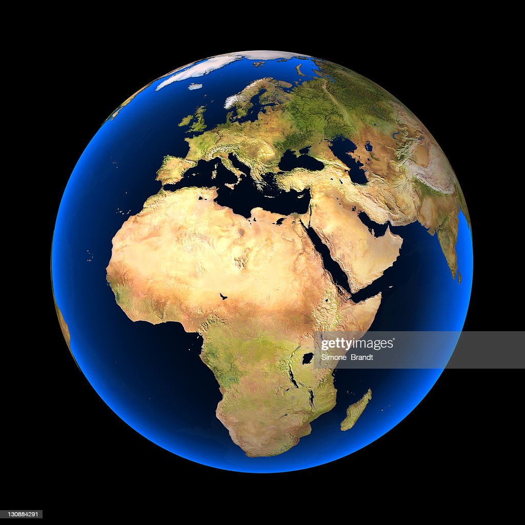 Globe Against A Black Background Europe Africa And Parts Of Asia - Globe elevation