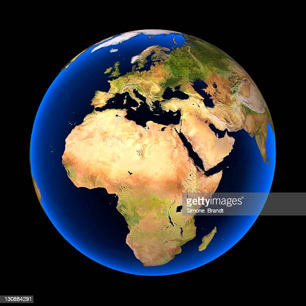 globe against a black background, europe, africa and parts of asia visible, clear elevation differentiation, cutout - europa kontinent stock-fotos und bilder