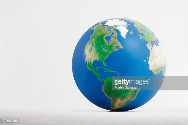 Globe against white background, close-up