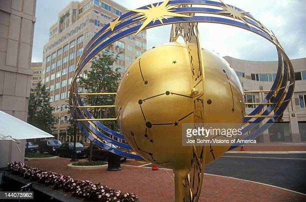 Globe and constellation sculpture in Reston VA town center a planned community