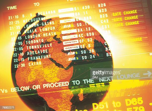Globe and image of airline timetables, CG, composition