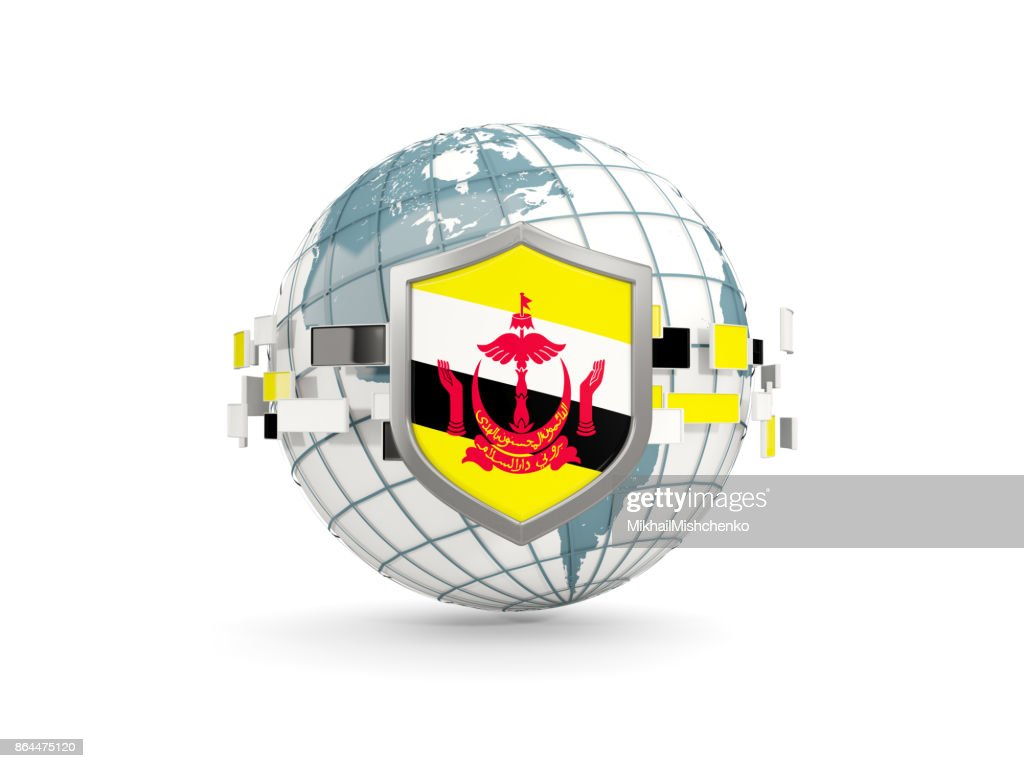Globe And Shield With Flag Of Brunei Isolated On White Stock Photo
