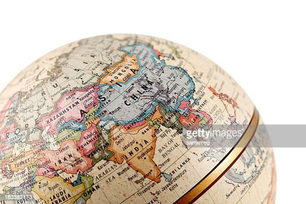 mondo asia (tracciati di ritaglio - mappamondo foto e immagini stock