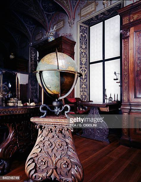 Globe brass bronze wood and plaster height 70 cm diameter 44 cm library in the Bagatti Valsecchi museum Milan Lombardy Italy