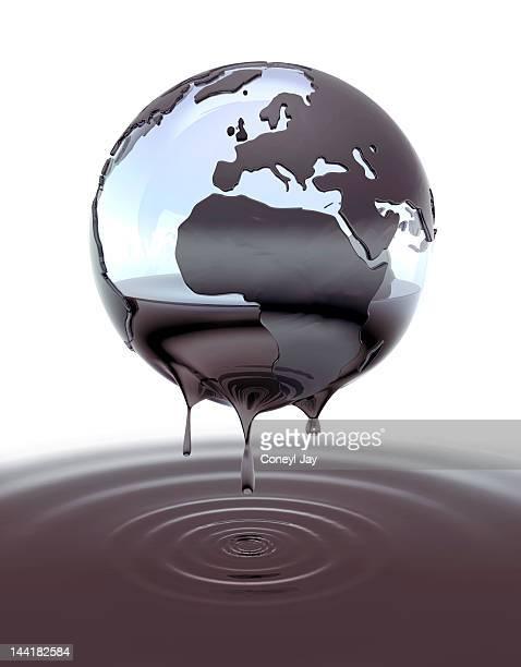 CGI globe dripping crude oil