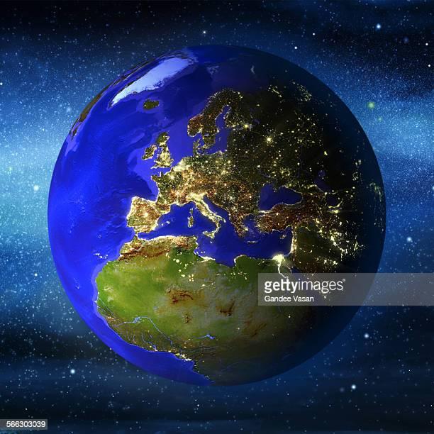 Globe Europe Illuminated