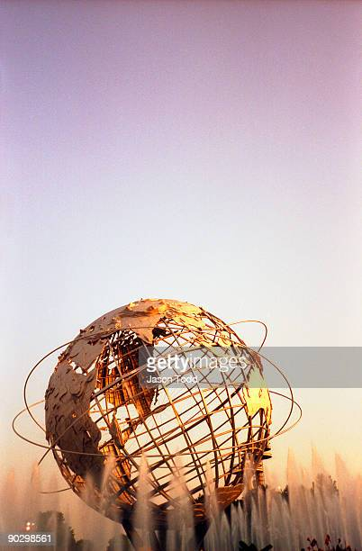 globe for world's fair of 1964 at flushing meadows - flushing queens stock pictures, royalty-free photos & images