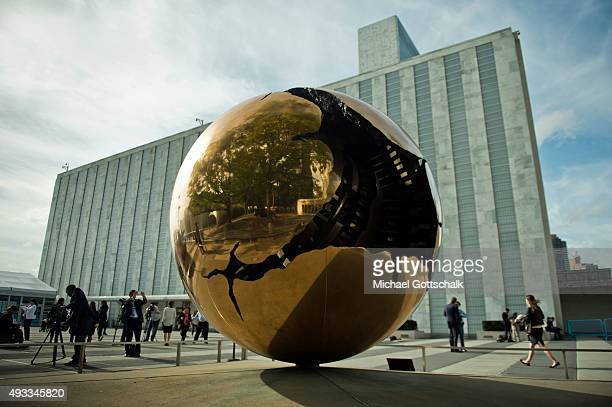 A Globe in Front of United Nations headquarters on September 25 2015 in New York United States