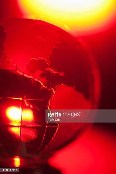 Globe in red glow
