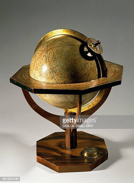 Globe made by Johann Georg Klinger's workshop after 1840, wooden support height 28 cm, diameter 13.5 cm, Nuremberg. Germany, 19th century.