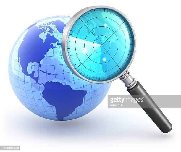 Globe Lupe radar Konzept