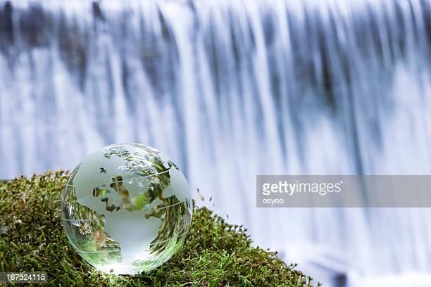 Globe near the waterfall