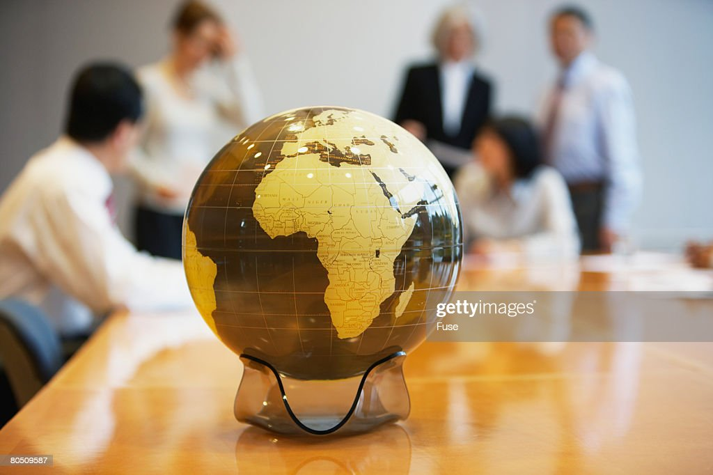Globe on a Conference Table : Stock Photo