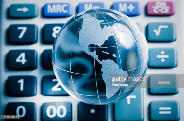 Globe on calculator, america map