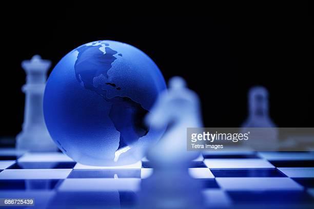 Globe on chess board