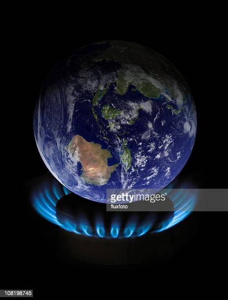 Globe on flame representing as global warming