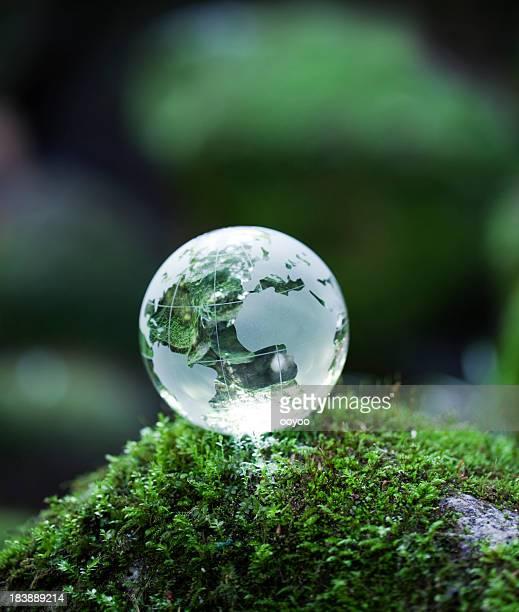 Globe on mossy rock