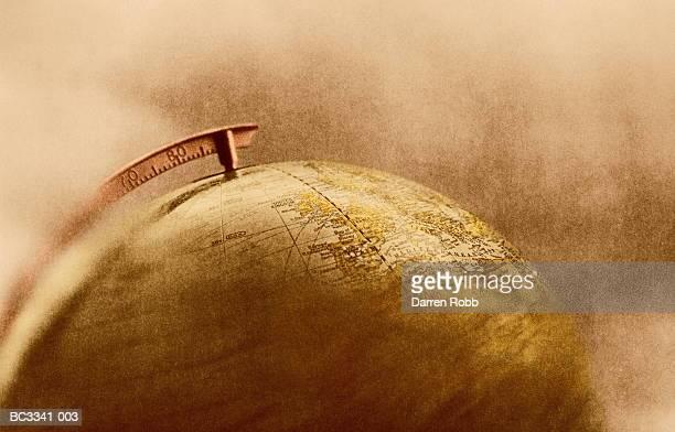Globe (focus on Europe and Atlantic Ocean, tinted B&W)