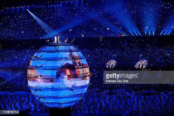 A globe rises in the National Stadium during the opening ceremony on Friday August 8 to kick off the Games of the XXIX Olympiad in Beijing China