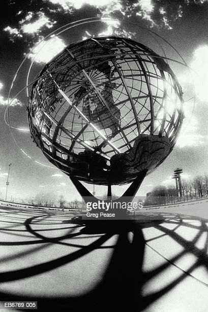 Globe sculpture on pedestal, New York City, USA (infrared B&W)