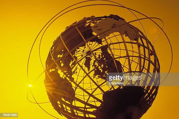 Globe sculpture outdoors