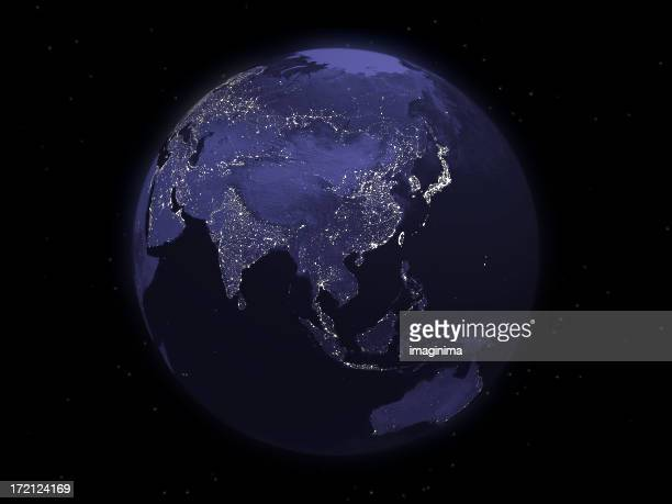 globe series: night - eastern asia - east asia stock pictures, royalty-free photos & images