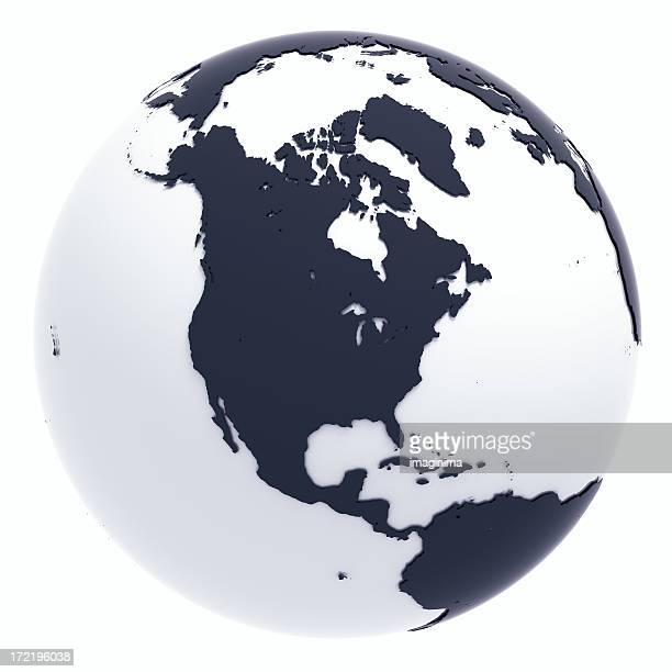 globe series: silver ii - north america (with clipping path) - north america stock pictures, royalty-free photos & images