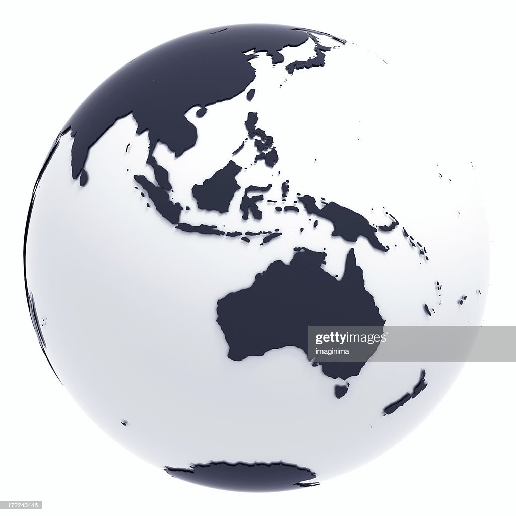 Globe Series: Silver II - Oceania (with Clipping Path) : Stock Photo